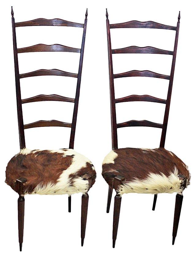 Italian Ladder-Back Chairs, Pair