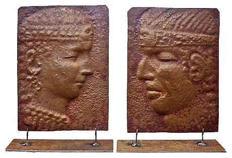 Peruvian Copper Plaques, Pair