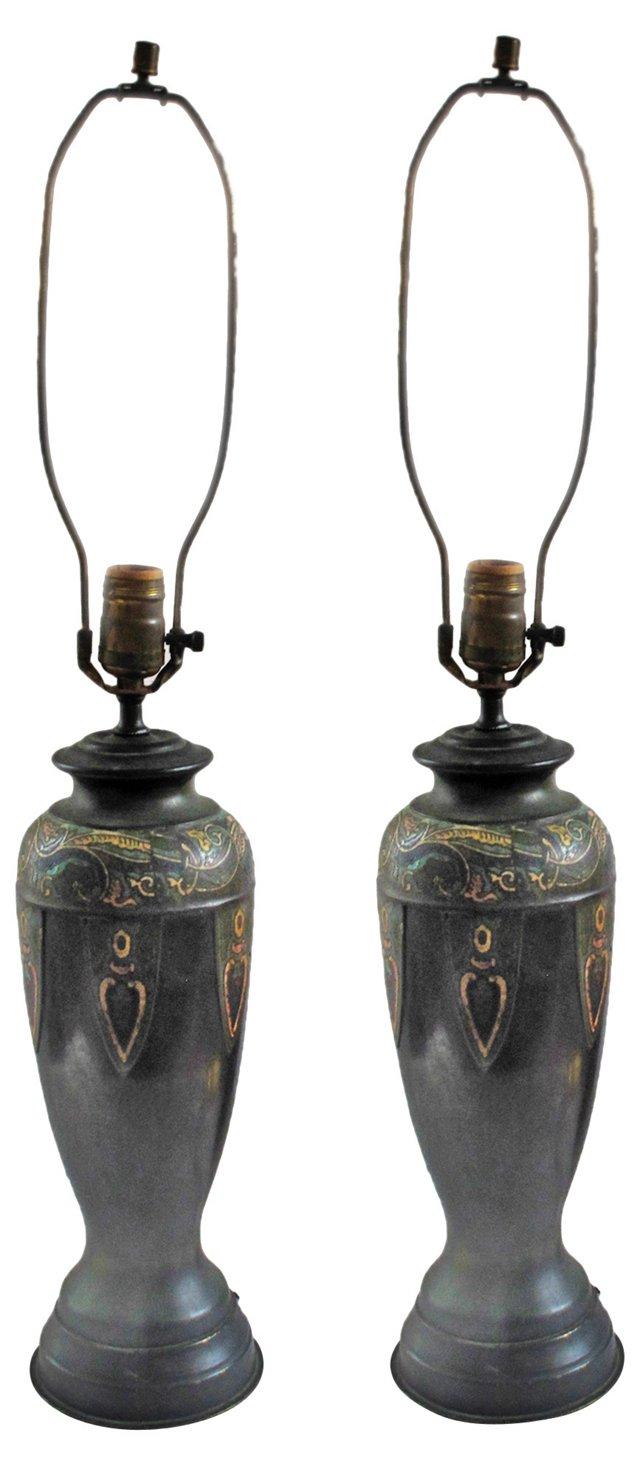 Cloisonné Lamps, Pair