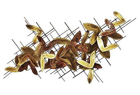 Mid-Century Copper, Brass Wall Sculpture