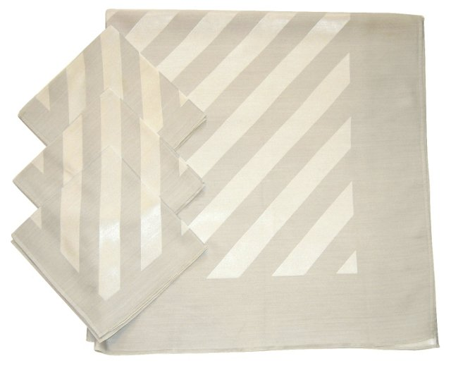 Silver Stripes Tablecloth & Napkins, S/4