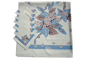 Rhododendron Tablecloth & Napkins, S/7