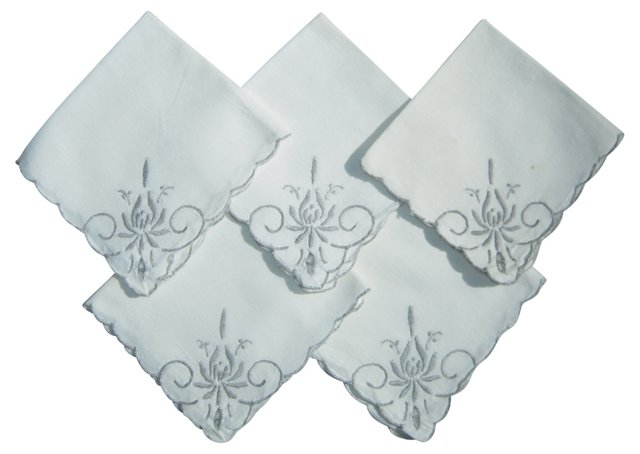 Embroidered Cutwork Napkins, S/5