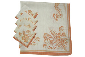 Asian-Themed Tablecloth & Napkins, S/5