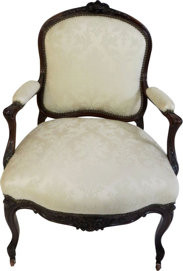 19th-C. Louis XV-Style Fauteuil