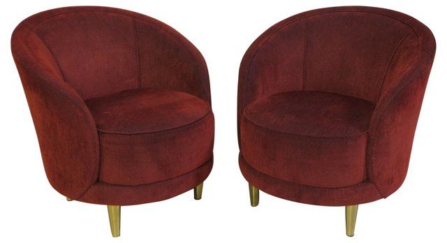 Art Deco-Style Barrel Chairs, Pair