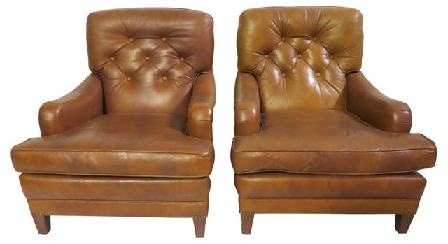 Leather    Club   Chairs,  Pair