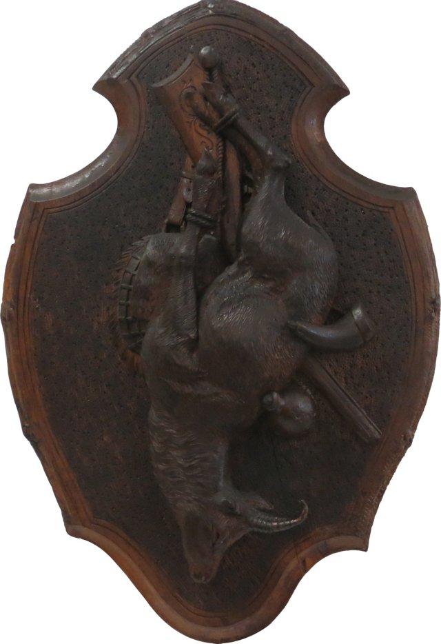 Black Forest Carved Game Plaque