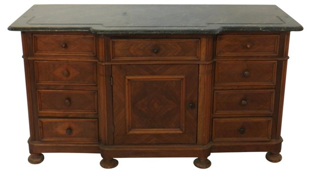 French Marble-Topped Walnut Sideboard