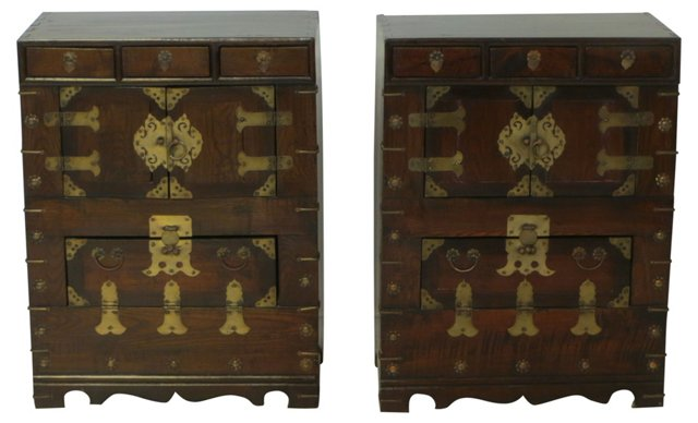 Korean Tansu Cabinets, Pair