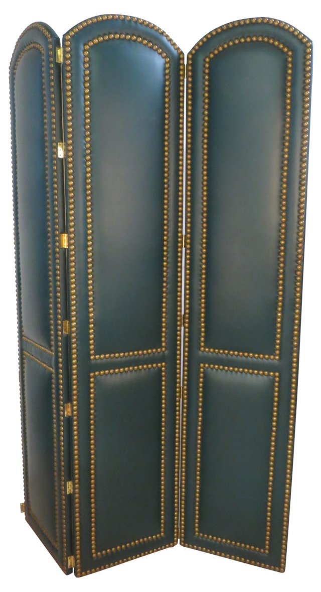 3-Panel  Faux-Leather Screen