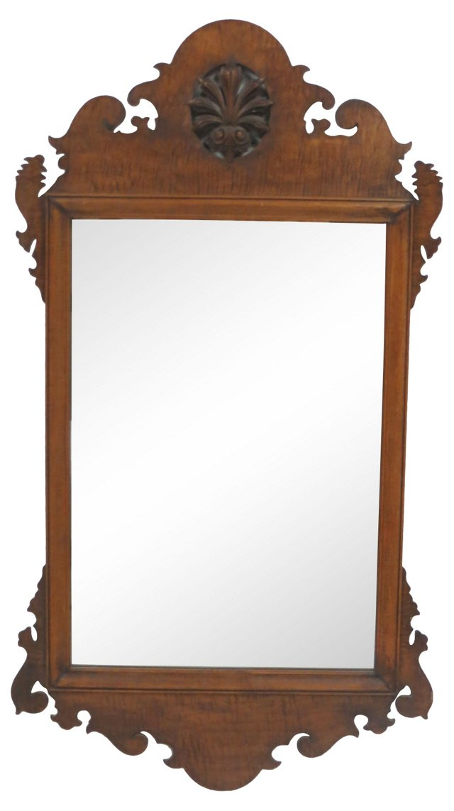 19th-C. Carved Wood Mirror