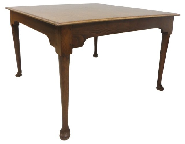 19th-C. Square Queen Anne-Style Table