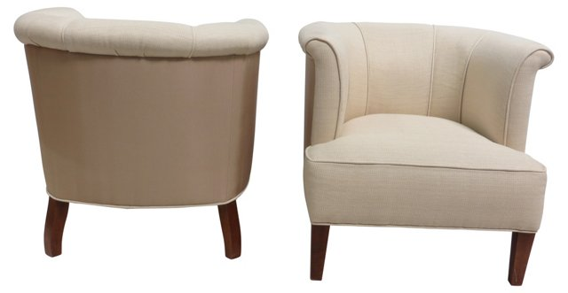 Barrel Chairs, Pair
