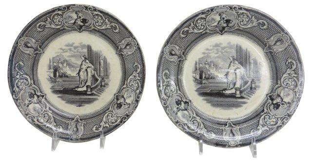 19th-C. Transferware Plates,     Pair