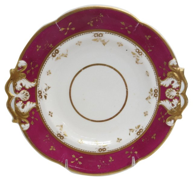 Raspberry & Gold Serving Plate