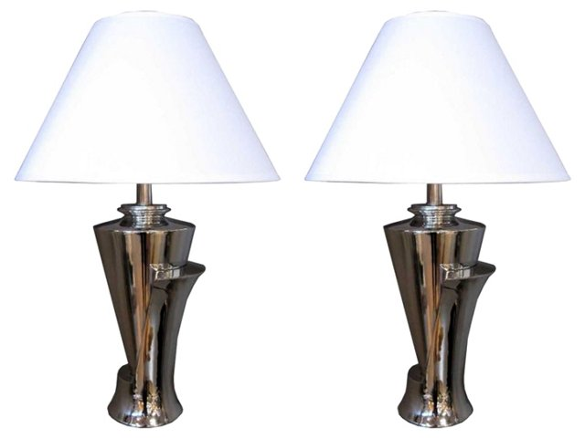 Nickel Lamps, Pair