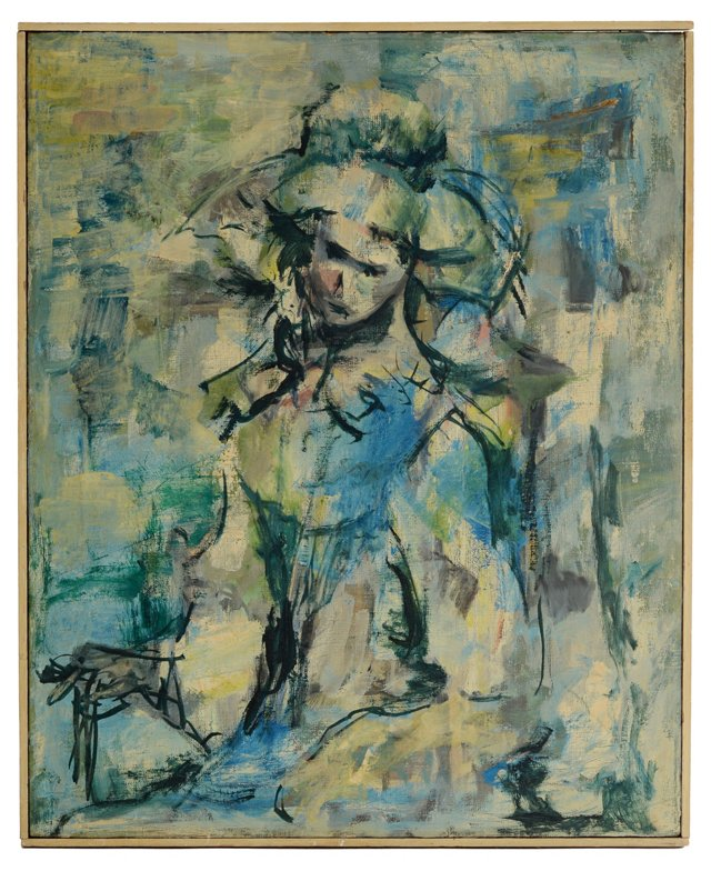 1960s Abstract Oil of Lady in Blue