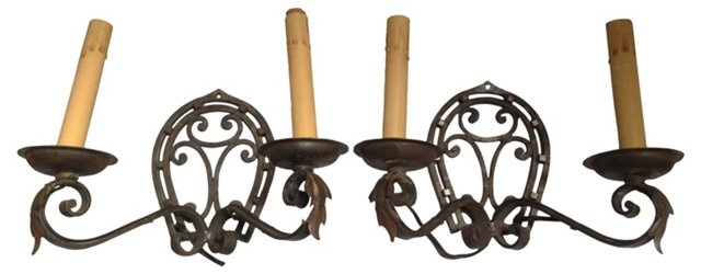Continental Iron Sconces, Pair