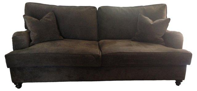 Custom Charcoal Velvet Sofa