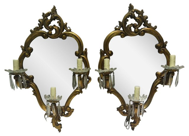 Giltwood Mirror Sconces, Pair