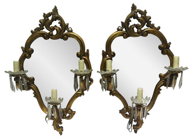Giltwood Mirror Sconces, Pair