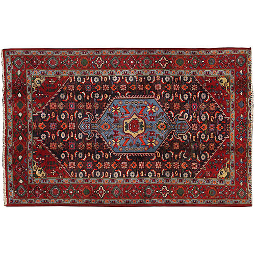"Vintage Persian Bidjar Rug- 4'4"" X 6'6"""