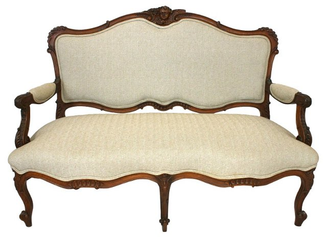 Antique French Rococo-Style  Settee