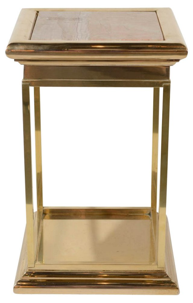 Brass Accent Table w/ Marble Top