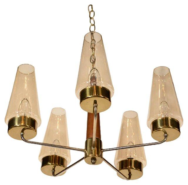 Brass, Teak & Smoked Glass Chandelier
