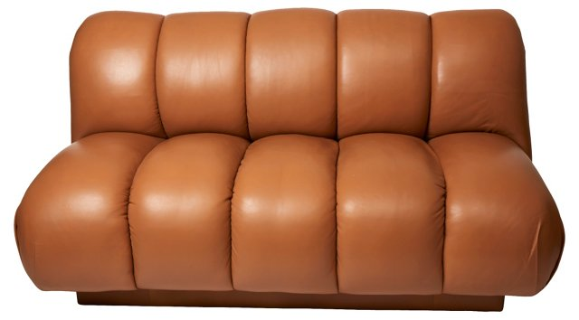 Channel-Style Leather Sofa
