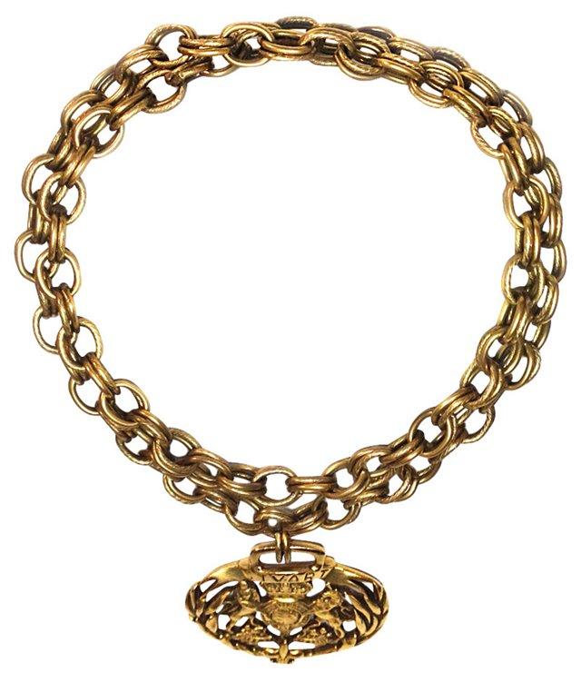 Goldtone Chain Necklace w/ Stuart Crest