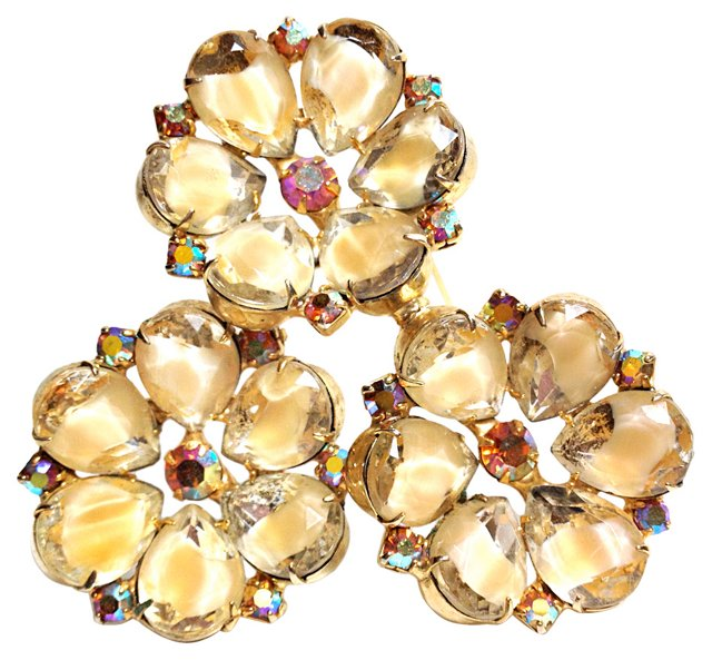 Crackled Ice Stones Triple-Flower Brooch