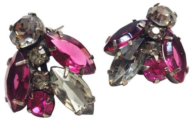 Juliana Pink & Smoky Rhinestone Earrings