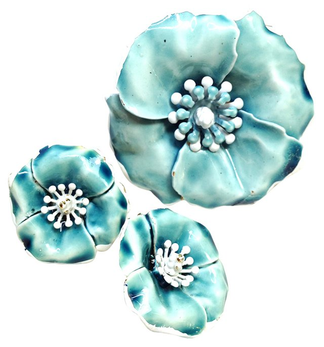 ART Enamel Flower Demi-Parure