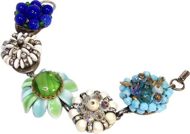Blue, Green & White Bracelet