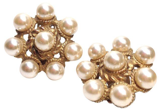 Graziano Gold & Faux-Pearl Earrings