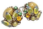 Spring-Themed Glass Clip Back Earrings