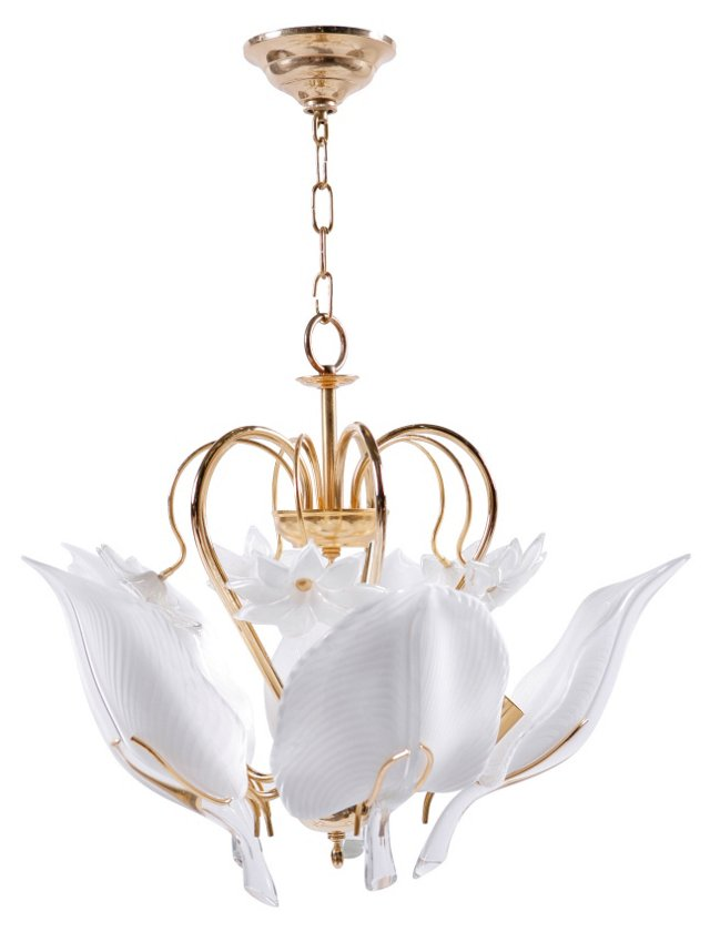 White Acanthus Leaf Murano Chandelier