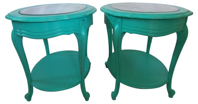 French Provençal-Style End Tables, Pair