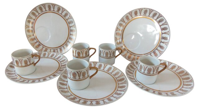 Gilt Cake Plates & Cups, Svc. for 5