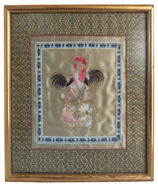 Framed Chinese Embroidery w/ 2 Roosters