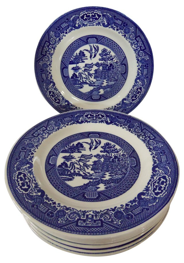 Blue Willow Plates, S/9