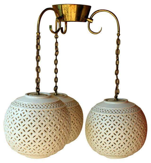 Midcentury Pierced Globe Chandelier