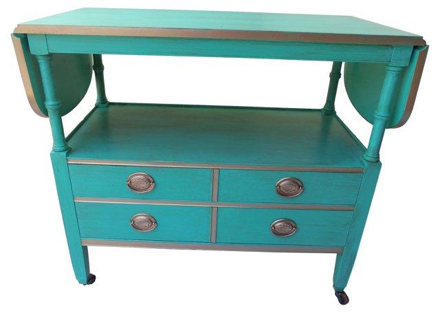 Turquoise Drexel Bar Cart