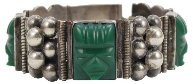 Sterling & Faux-Jade Bracelet
