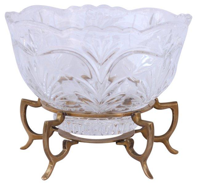Glass Bowl w/ Brass Stand