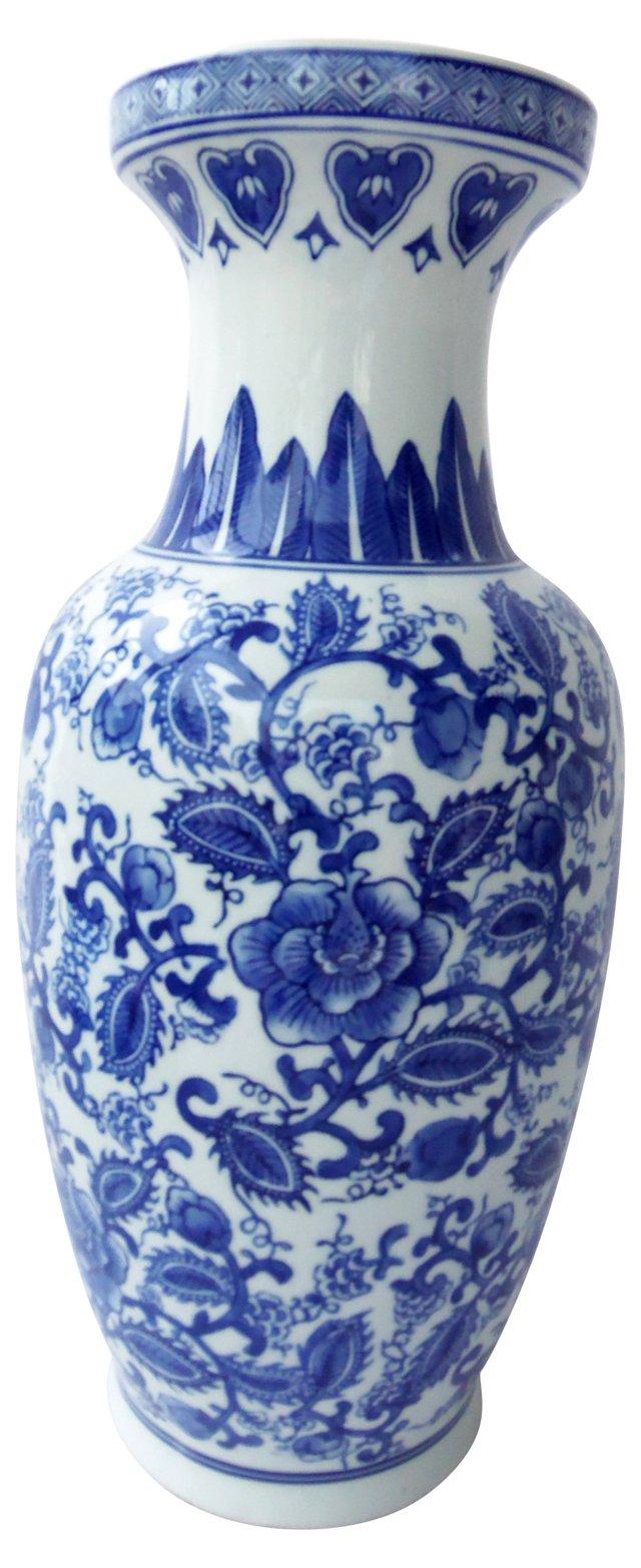 Tall Blue & White Chinese Vase