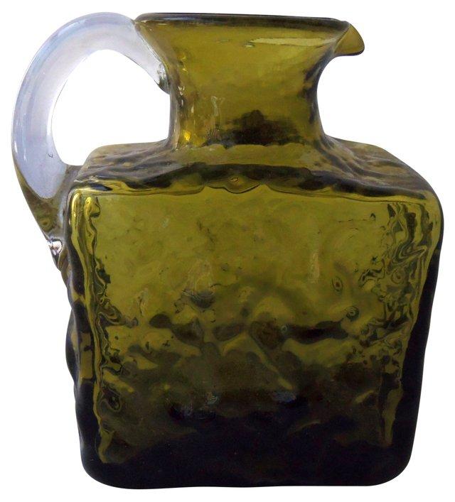 Green Blown-Glass Pitcher