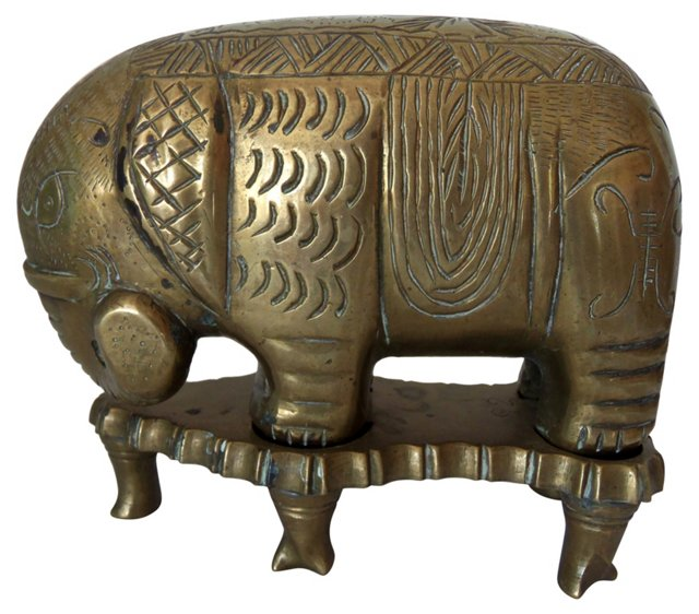 Chinese Brass Elephant w/ Stand